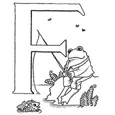 Coloring Pages of Upper Case F Frog Fishing and Having Fun