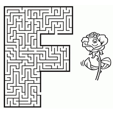 Letter F Maze Coloring Pages