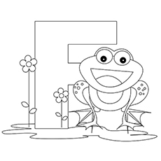 frog starts with letter f coloring page