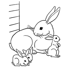 the mama bunny with offspring - Bunny Coloring Sheet