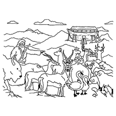 The Noah Leading Animals To Ark Toy Coloring Pages