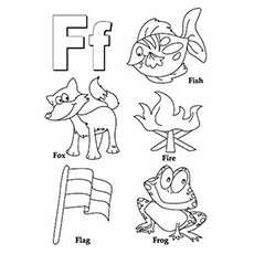 Letter F for Frog Fox Fish Coloring Page to Print