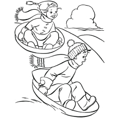 Winter Season Coloring Page Kids Having Fun Sled Dog