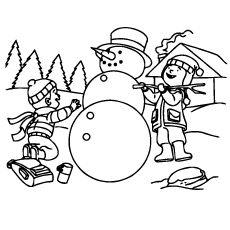 Winter Sneeuwpop Coloring Page to Print