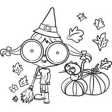 Witch Sweeping Pumpkin Leaves Files in Fall Coloring Page