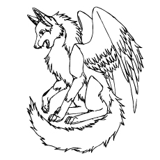 wolf with wings coloring pages - Wolf Coloring Pages