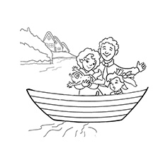 A Family Boat Printable Coloring Page