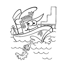 Happy Boat Coloring Page to Print