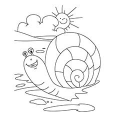 Snail Relaxing In Sunshine Coloring Page to Print