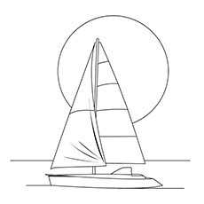 Coloring Pages of Serene Boat