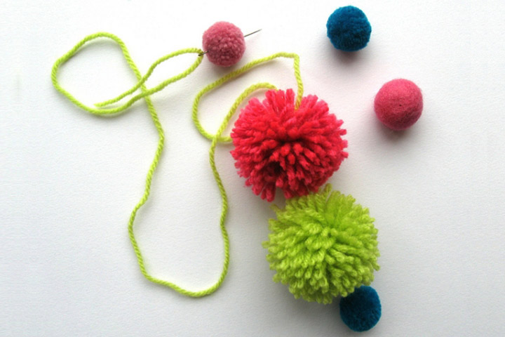 Baubles Made With Wool Pom-Poms