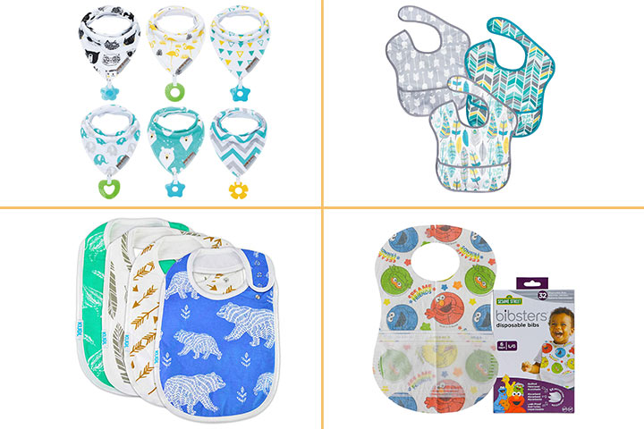 Organic Cotton Baby Bib Set 4-Pack Absorbent w// Snaps Social Media Theme