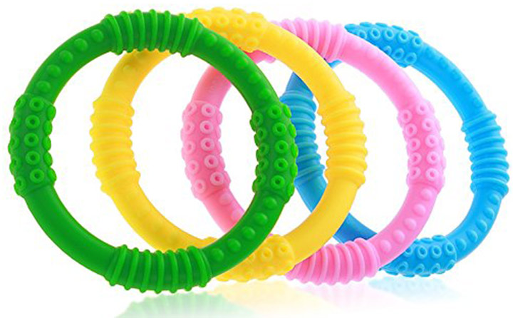 Bonbino 4-pack silicone sensory teething rings