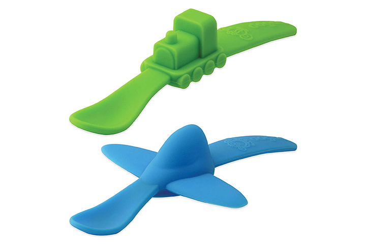 Oogaa Planes & Trains Silicone Spoons Baby Utensils