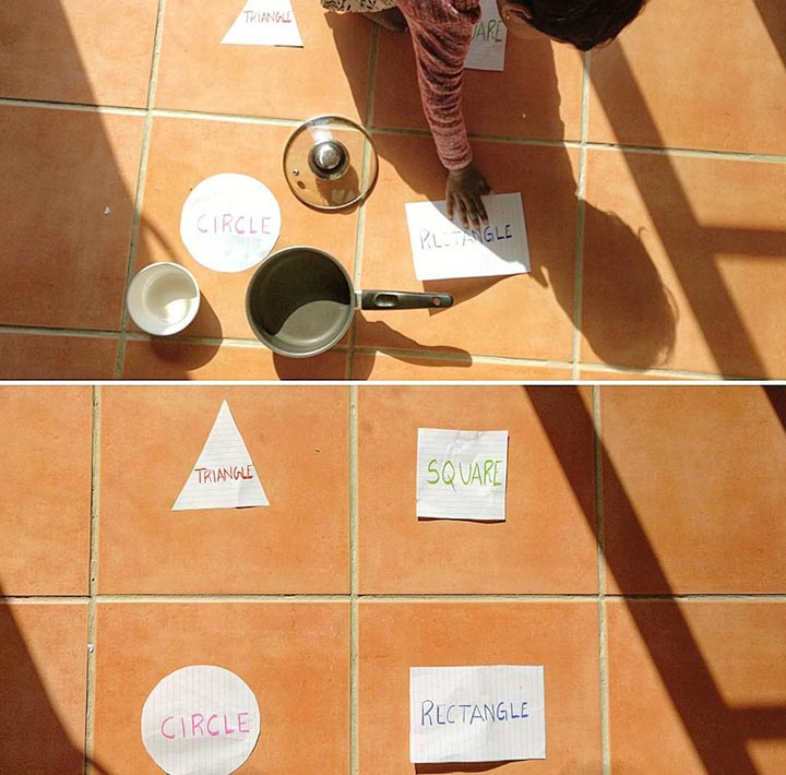 Shape sorting household objects
