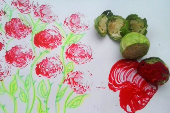 Stamped Apron Using Brussels Sprouts