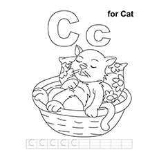 'C' For Cat Coloring Pages