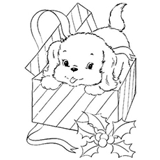 the a pup coming out of a christmas - Puppy Coloring Pages To Print Free