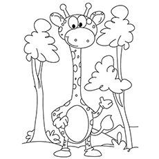 printable coloring pages of baby giraffe standing between the trees - Giraffes Coloring Pages