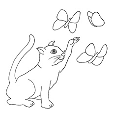 Cat Trying To Catch Butterfly In A Meadow Printable Coloring Sheets
