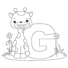 capital g for giraffe coloring sheet to print