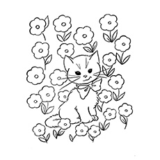 Cat In A Meadow Free Printable Coloring Sheet
