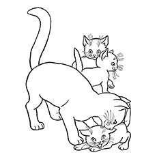cat playing with three kittens coloring sheet - Free Printable Cat Coloring Pages