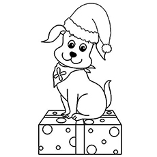 the christmas pup - Puppy Coloring Pages