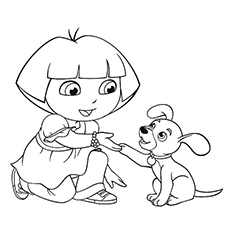 the dora with pup - Puppy Coloring Pages