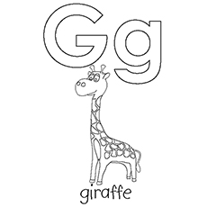 G For Giraffe Picture to Color