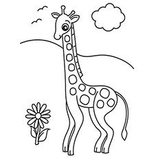 Giraffe And Flower During A Day Coloring Page