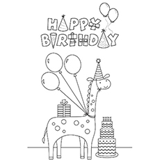 Happy Birthday on Giraffe Image to Color
