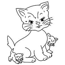 mommy cat and kitten a pretty bow for coloring pages - Free Printable Cat Coloring Pages