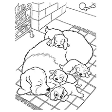 the mother dog with pups - Puppy Coloring Pages