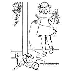 Girl Playing with Her Pet Cat Coloring Pages