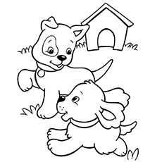 the pups playing - Puppy Coloring Pages