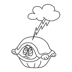 Scared Turtle Coloring Sheet