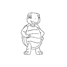 Turtle Standing on its Two Legs Coloring Page to Print
