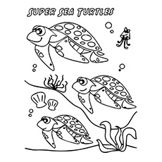 Super Sea Turtles together Printable Coloring Page