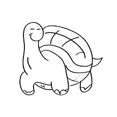 cartoon turtle lazy turtle walking coloring sheet