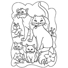pretty miss kitty coloring pages of happy cat family