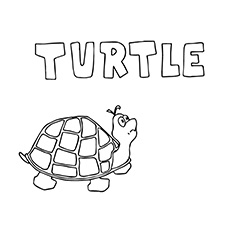 Free Printable Coloring Sheet of Turtle Capital T