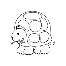 Turtle Holding A Flower With Mouth Coloring Page To Print