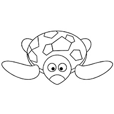 Coloring Sheet of Funny Turtle Walking