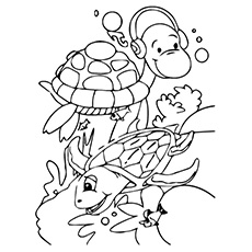 Coloring Pages of Two Turtles Enjoying Together in Water and Listing to Music