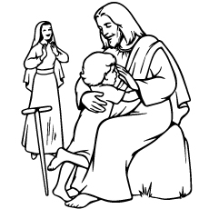 Catholic with kid Coloring Page