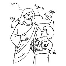 Jesus Feeds The Multitudes Coloring Page