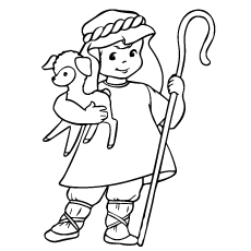 Coloring Page of Shepherd with Sheep