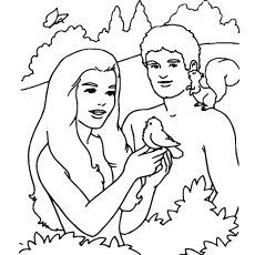 Bible Characters Adam And Eve Coloring Page to Print