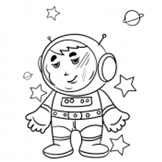 Astronaut Has Star in Hand Coloring Pages